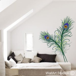Peacock Feathers Wall Art Sticker, birds, nature, feathers, custom
