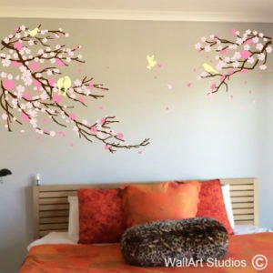 Cherry Blossom & Birds Wall Decal, nature, trees, flowers, custom, wall art stickers, vinyl wall decals, blossoms, home decor