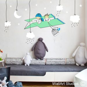 Paper Plane, Clouds & Raindrops Wall Art Stickers, boys room decor, nursery wall art, baby room decor, planes, clouds, raindrops, kids, custom wall stickers, wall art studios