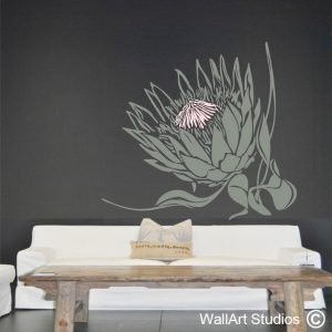 King Protea Wall Art Stickers, floral wall decals, plants & flowers, wall decor, protea, proteas, custom wall art