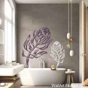 Proteas Wall Art Decals, king protea, floral wall stickers, custom wall decals, home decor