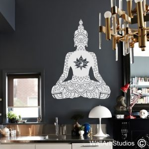 Buddha Lotus Mandala Wall Stickers, buddha wall decals, lotus flowers, tribal tattoos, vinyl wall stickers